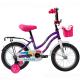 """Велосипед 12""""NOVATRACK TETRIS фиолетовый тормоз нож. крылья цвет. багажник чёрн. передняя корзина"""