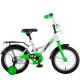 """Велосипед 14""""NOVATRACK STRIKE белый-зелёный тормоз нож. корот. крылья"""